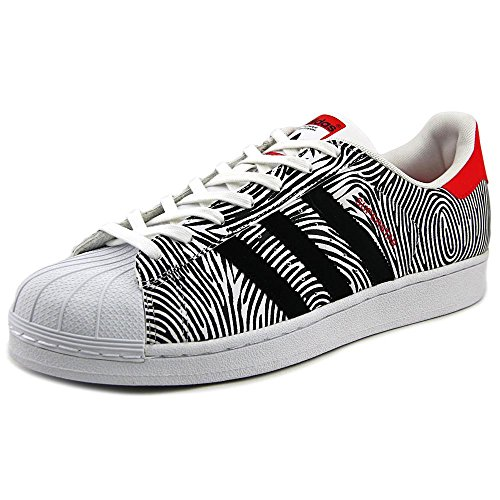Adidas Men's Superstar FP Originals FtWhite/Black/Tomato Basketball Shoe 10 Men US (Star Tomato)
