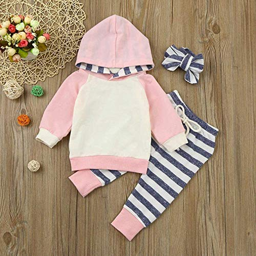 Baby Girl's Clothes Long Sleeve Hoodie Tops Sweatsuit Pants Headband Outfits Set (Pink, 18-24 Months) by Cshadow (Image #2)