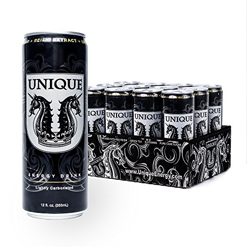 Unique Energy Drink, Refreshing Health Conscious Lightly Carbonated Beverage with Red Reishi Mushroom, Green Tea Extract and B-Vitamins (Pure Cane Sugar, 12 Oz (12 Pack))