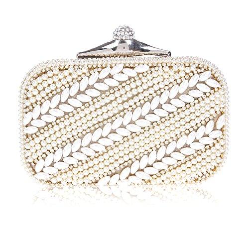 Damara Elegante Mujeres Bolso De Fiesta Con Perla Embrague De Cartera Regalo,Plateado Dorado