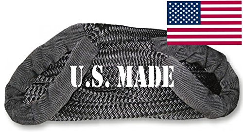 U.S. made KINETIC RECOVERY ROPE (Snatch Rope) MILITARY-GRADE (BLACK) - 1 inch X 30 ft (4X4 VEHICLE RECOVERY)