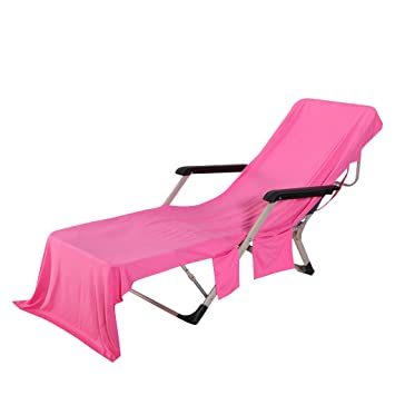 1af6d2d3bab9 Beach Chair Cover with Side Pocket Quick Drying Sun Lounger Beach Towel  Lounge Chair Cover Towel