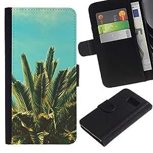 Billetera de Cuero Caso Titular de la tarjeta Carcasa Funda para Samsung Galaxy S6 SM-G920 / Sun Vignette Teal Summer Palm Tree Miami / STRONG