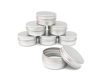 Cajas de aluminio vacías para cosméticos. Frascos redondos con tapón de rosca de 5 ml