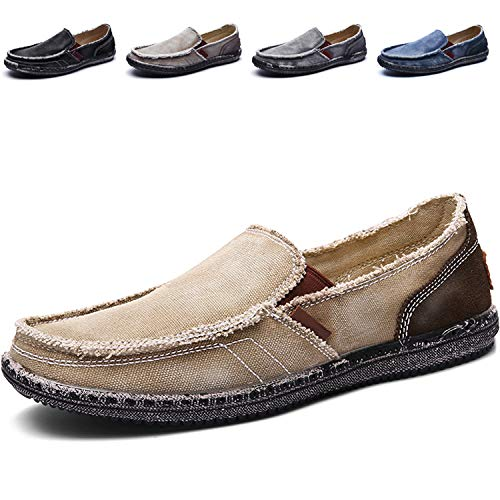 CASMAG Men's Casual Cloth Shoes Canvas Slip-on Loafers Outdoor Leisure Walking Boat Shoes Men Khaki 10.5M US