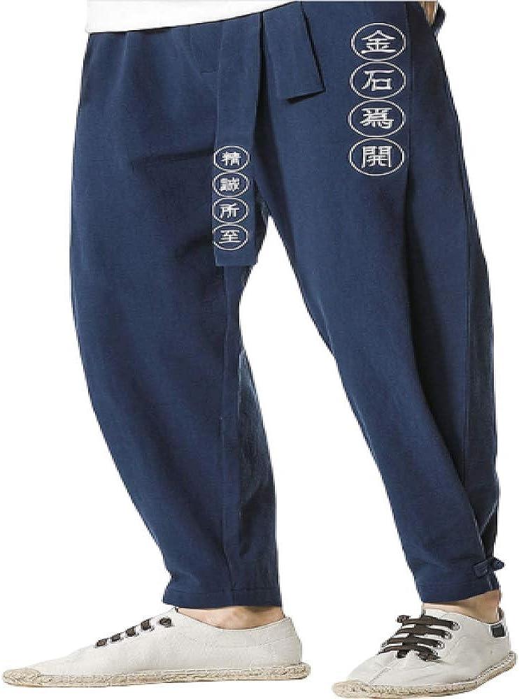 Pantalones para Hombre Cordón Elástico Cintura Letra China ...