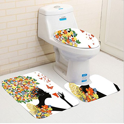 Keshia Dwete three-piece toilet seat pad customFloral Woman Silhouette with Hot Tea Cup Butterflies Wings Daisies Poppy Hibiscus Hairstyle Multicolor