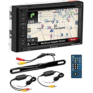 "PLANET AUDIO PNV9645WRC Navigation, Bluetooth, Double Din, 6.2"" Touch Screen, DVD/CD/MP3 AM/FM Receiver Wireless Remote, Wireless License Plate Backup Camera Included"