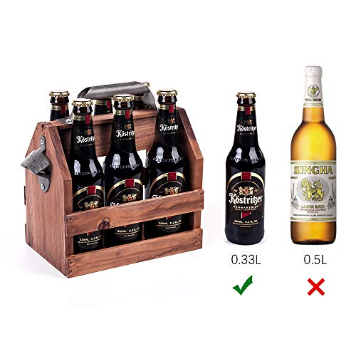 Mealivos Wooden Bottle Caddy, 6-Pack Beer Carrier with Built-In Metal Bottle Opener