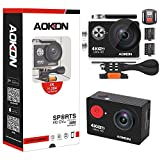 Aokon 4K Action Camera, ARC100 12M Ultra HD Underwater Waterproof WiFi Sports Digital Video Cam with 2.0 LCD 2 Batteries Remote Control 170 Wide Angle Lens and Full Accessories Kits