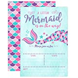 Pink and Purple Mermaid Baby Shower Invitation, Mermaid Baby Shower, Baby Sprinkle Invite, 20 Fill in Invitations and Envelopes
