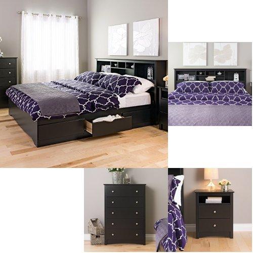 (Prepac Sonoma 4-piece King Bedroom Set - Black)