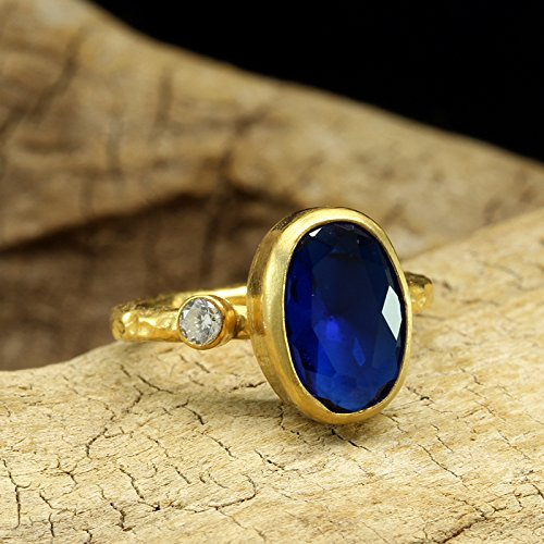 Blue Color Faceted Cubic Zirconia Ring 925 Sterling Silver 24K Yellow Gold Vermeil Handcrafted Hammered Handmade Artisan Right Hand Ring Cubic Zirconia Vermeil Ring