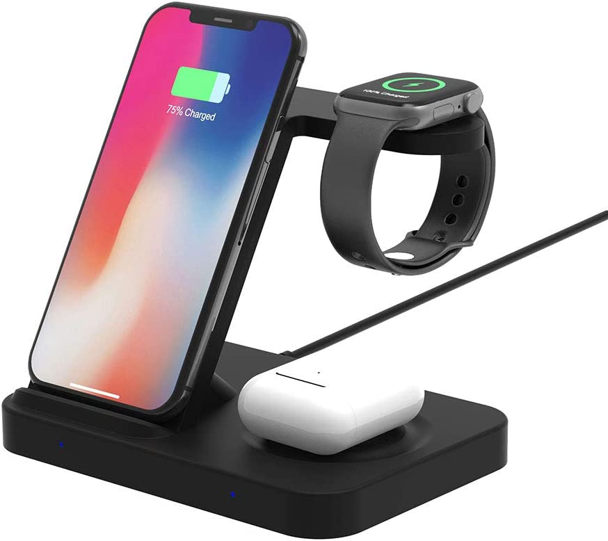 Wireless 3 in 1 Charger Qi-Certified Fast Charging Station for iPhone 12/11/8/X/XS/SE(2020) with Apple Watch Series SE/6/5/4/3/2 and AirPods 2/Pro,Samsung Galaxy S20/S10/S9/S8/S7