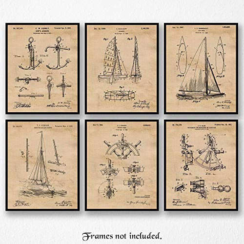 Original Sailing Patent Art Poster Prints - Set of 6 (Six 8x10) Unframed Pictures- Great Wall Art Decor Gifts Under $20 for Home, Office, Garage, Man Cave, Teacher, Sailor, Skipper, Regatta Fan ()