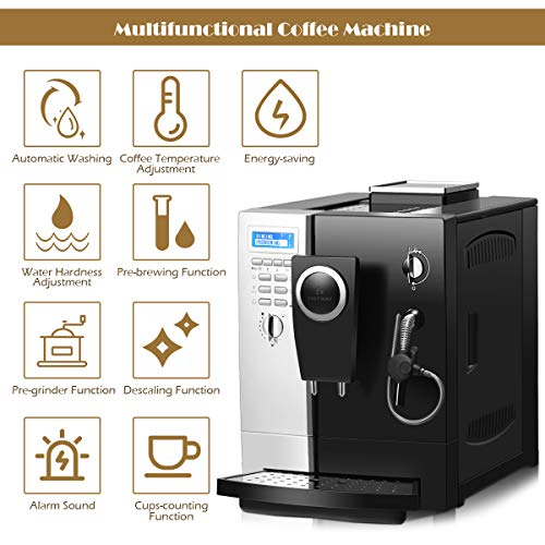COSTWAY Super Automatic Espresso Machine, 19 Bar Pump, Built-In Milk Frother & Steamer, All-In-One Espresso Machine, Stainless Steel Removable Water Tank and Drip Tray, Frothing for Cappuccino and Latte, Barista Touch Coffee Machine (Silver+ Black) by COSTWAY (Image #3)