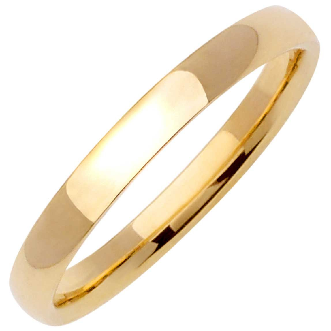 3mm 14K Yellow Gold Traditional Classic Mens Comfort Fit Wedding Band
