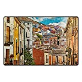 My Daily Colorful Spain Streets And Buildings Painting Area Rug 3'3'' x 5', Living Room Bedroom Kitchen Decorative Unique Lightweight Printed Rugs