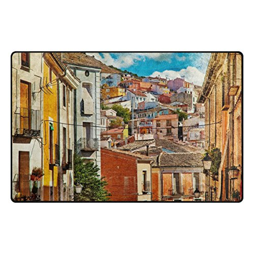 My Daily Colorful Spain Streets And Buildings Painting Area Rug 3'3'' x 5', Living Room Bedroom Kitchen Decorative Unique Lightweight Printed Rugs by ALAZA