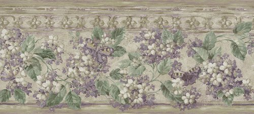 Wallpaper Border Waverly Wisteria Purple Floral with Butterflies on Beige Faux