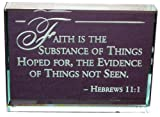 Hebrews 11:1 Bible Verse: Hand Etched Glass Paperweight