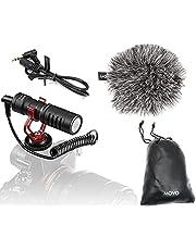 Movo VXR10 - Micrófono de vídeo universal con soporte de choque, parabrisas Deadcat y funda para smartphones iPhone/Andoid, cámaras réflex digitales Canon EOS/Nikon y videocámaras