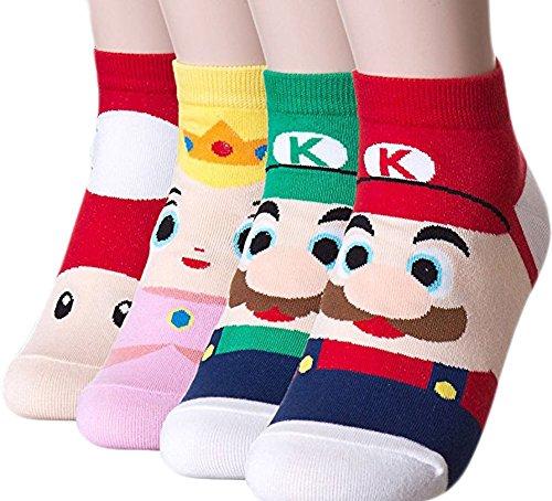Womens Famous Japanese Animation Cartoon Crew Socks Good for Gift Free Size - Mario Socks