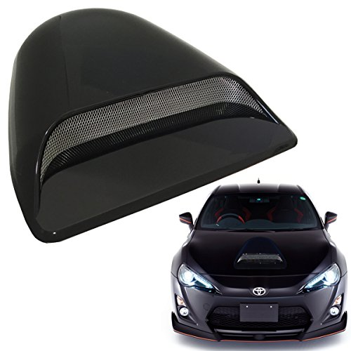 Scoop Intake - Mega Racer Universal JDM Style Decorative Hood Scoop Smoke Black Air Flow Intake Vent Cover Auto Car Truck Sport Racing