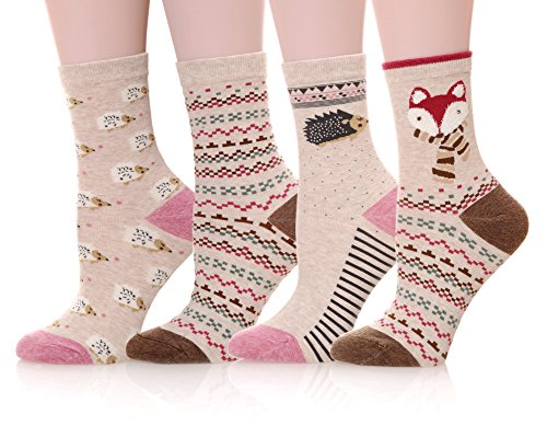 Dosoni Girl Novelty Cartoon Animal Lovely Cute socks 4 packs-Gift Idea (Squirrel/Pink)