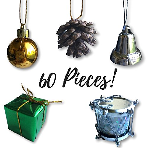 Mini Christmas Ornaments - Set of 60 Small Tree Decorations - Silver, Gold and Green Miniature Balls, Pine Cones, Bells, Packages And Drums - 1 1/2