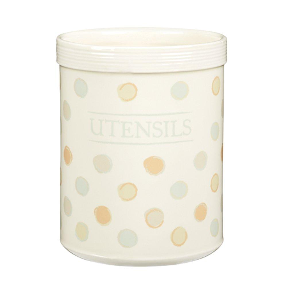 KitchenCraft Classic Collection Striped Ceramic Kitchen Utensil Holder – Cream KCCCUTENSIL