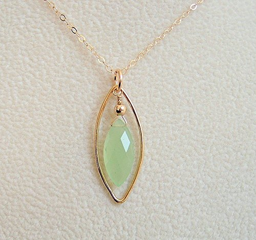 Light Green Chalcedony Marquise Oval Framed Pendant Setting 18