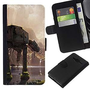 """A-type (En En Batalla"""") Colorida Impresión Funda Cuero Monedero Caja Bolsa Cubierta Caja Piel Card Slots Para Samsung Galaxy Core Prime"""