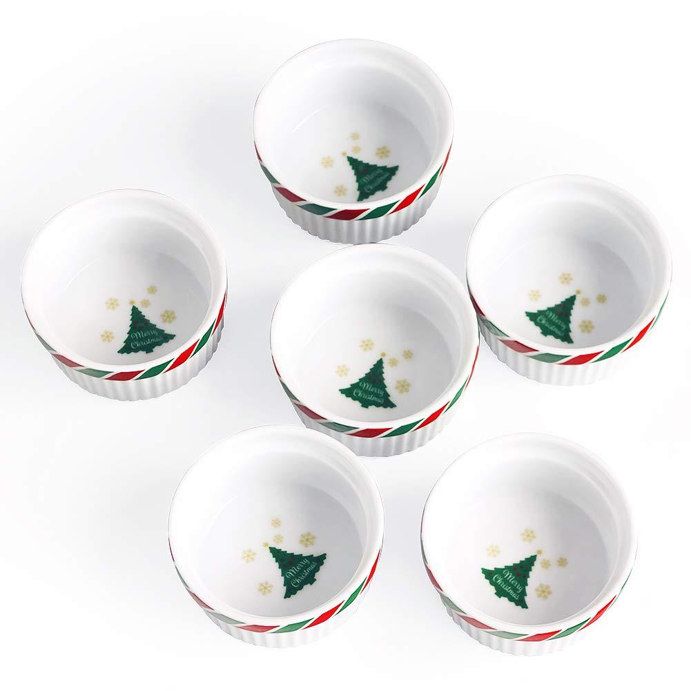 Cinf Colorful Porcelain 4 oz. Ramekins Pudding Bowls Dishes Cup for Baking- Set of 6,Oven,Microwave,Freezer and Dishwasher Safe