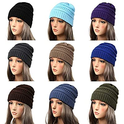 Winter Hats Knitted Hat with Tag Warm Baggy Stretch Knit Chunky Cable Beanie Ski Cap