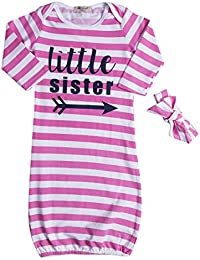 Baby Gown Letter Printed Stripe Long Sleeve Bodysuit...