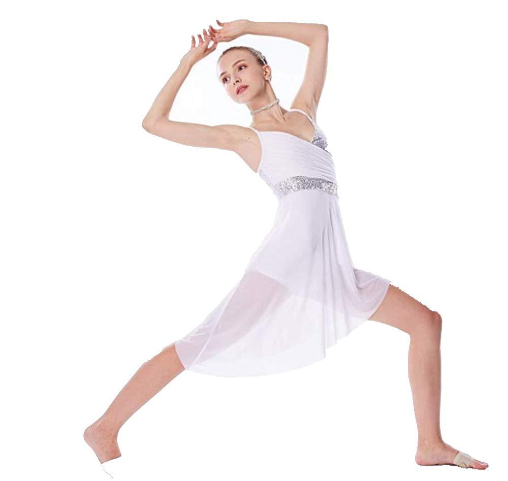 TiaoBug キッズ ガールズ リリカル モダン コンテンポラリー ダンス 衣装 フローラル スパンコール お祝い スピリット プライズ リリカル ダンス ドレス B07KSZ7VZX 8|ホワイト* ホワイト* 8