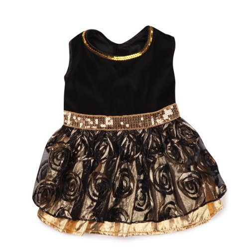 East Side Collection Polyester Glam Dog Dress, Small/Medium, 14-Inch, Gold, My Pet Supplies