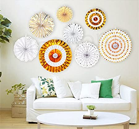 Gold Moohome Gold Hanging Paper Fans Set,Colorful Round Pattern//Paper Garlands for Party//Wedding//Birthday//Festival//Christmas//Event 8pc//Set