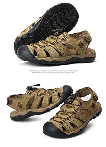 Caminar Zapatos Verano Dedo 18051605H Hombre en Sandalias de Cuero para la Viajar de Chanclas del Aire pie al Playa Deportivos Caminar Libre Claro para Cerrado Highdas Caminar Verde 7XfZxw