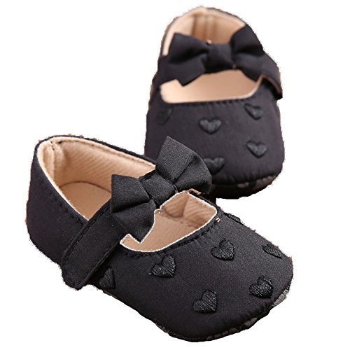 Leap Frog bebé niña Mary Jane único en forma de corazón lazo Velcro zapatos de Prewalker blanco blanco Talla:12-18months negro