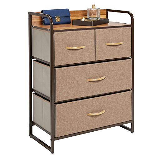 mDesign Dresser Storage Chest - Sturdy Metal Frame, Wood Top, Easy Pull Fabric Bins - Organizer Unit for Bedroom, Hallway, Entryway, Closet - Textured Print, 4 Drawers - Coffee/Espresso Brown (For Chest Hallway)