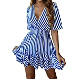 Elogoog Women's Dresses Wrap Ruffle Short Sleeve V Neck Pleated Striped Mini T-Shirt Dress(Blue, M)