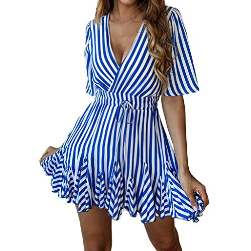 AKwell Women's Casual Summer Bohemian Floral Print Ruffle Swing A Line Beach Mini Dress Puffy Swing Casual Party Dress Blue ()