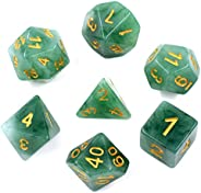 HDdais Polyhedral DND Dice Sets 7-Die Jade Dice for Dungeons and Dragons Pathfinder DND RPG MTG Table Gaming D