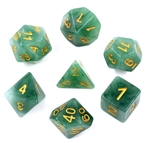 Polyhedral DND Dice Sets Gree Jade Dice for Dungeons and Dragons Pathfinder DND RPG MTG Table Gaming Dice
