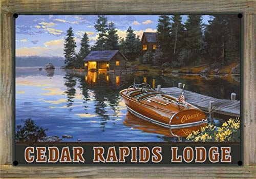 Northwest Art Mall Cedar Rapids Lodge Minnesota Criscraft Boat Dock Metal Print on Reclaimed Barn Wood by Darrell Bush (12