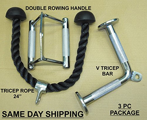 Rope York New - Three Great Professional attachments as a Package (Double Rowing Handle, V Tricep Bar and Tricep Rope) for Home Gyms, Power Racks, LAT Row Machines and More!!