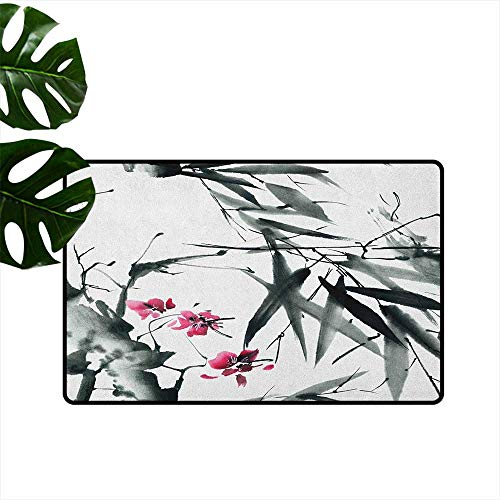 "RenteriaDecor Japanese,Floor mat Natural Sacred Bamboo Stems Cherry Blossom Japanese Inspired Folk Print 31""x47"",Indoor Super Absorbs Mud Doormat"