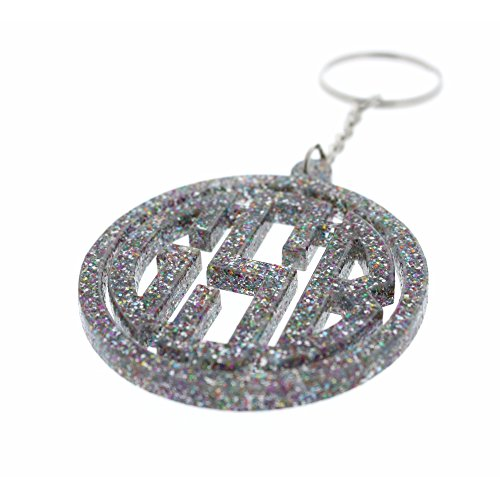 Personalized Monogram Keychain With Initials Acyrlic Laser Cut Custom Keychain Glitter rainbow